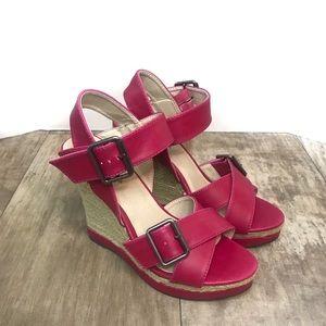 NWOT Pink Wedge Sandals